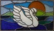 Stained glass swan design