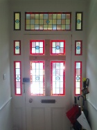 Stained glass door and fanlight